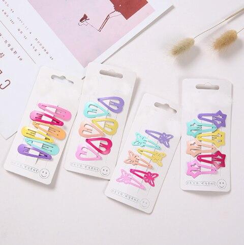 6Pc/Set Girls Hairpins Headwear Candy Color Paint Geometic Hairclips Heart Star Flower Hair Clip Barrette for Kids Headwear