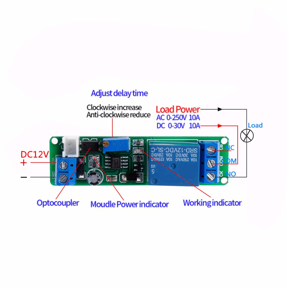 Dc 12v Timing Timer Delay Turn Off Switch Relay Module 110s 12vdc On Wiring Diagram Adjustable Power Supplies In Relays From Home Improvement Alibaba Group