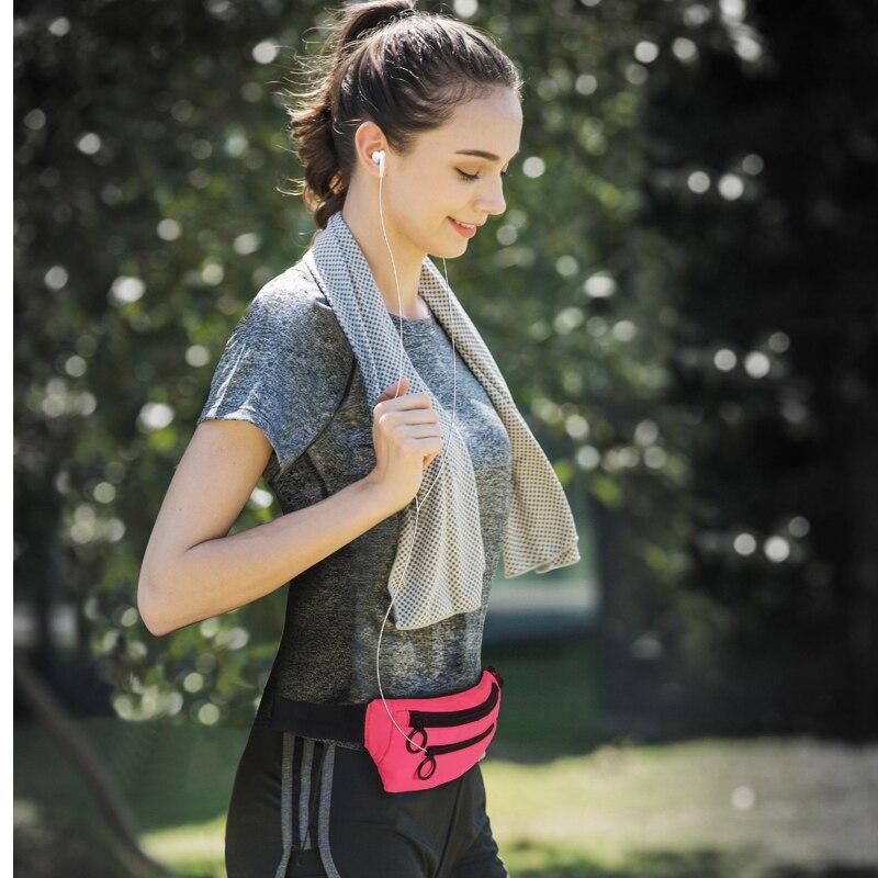 Купить с кэшбэком Outdoor running waist bag Pouch Sport leisure Belt Waterproof Mobile Phone holder Jogging Women Gym Sport Bag Fanny bag pockets