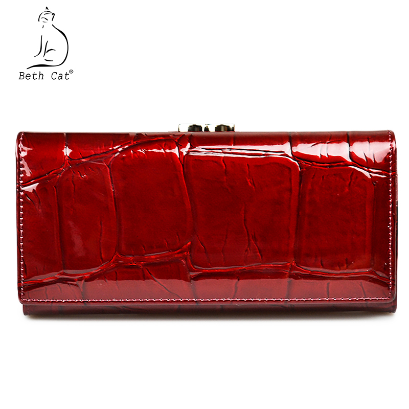 Beth Cat Women Wallet and Purse Genuine Leather Womens Wallets Ladies Clutch Bag 2018 New Female Luxury Hasp Long Purses teemzone top european and american fashion evening bag ladies genuine leather long style hasp note compartment wallet j25