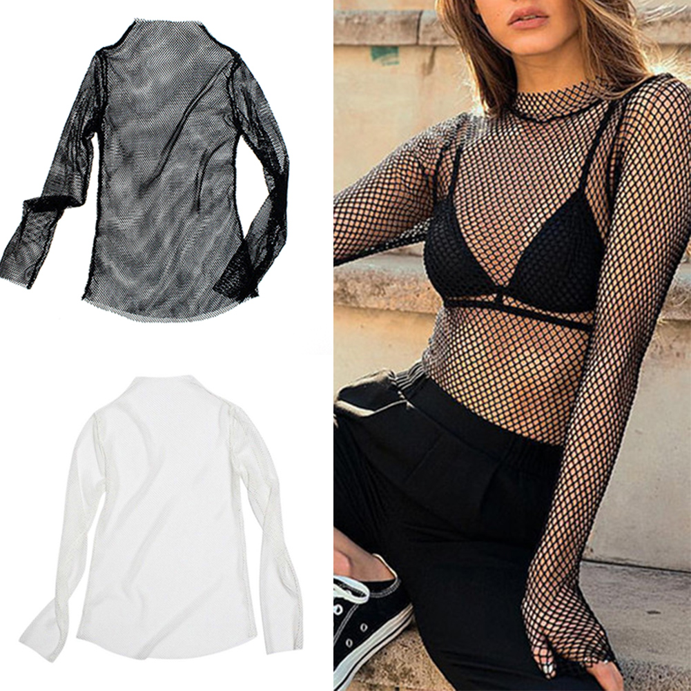 Summer Women Mesh See Tops Turtle Neck Long Sleeve Fish Net Fabala T-shirt High Neck See-through Hollow Out Transparent Fishnet