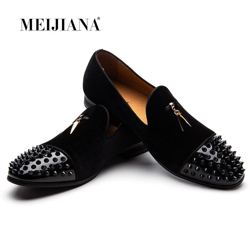MEIJIANA hombres mocasines negro gamuza tiburón dientes borla Zapatillas Zapatos de lujo vestido planos zapatos de banquete de cuero genuino Slip on-in Mocasines from zapatos    1