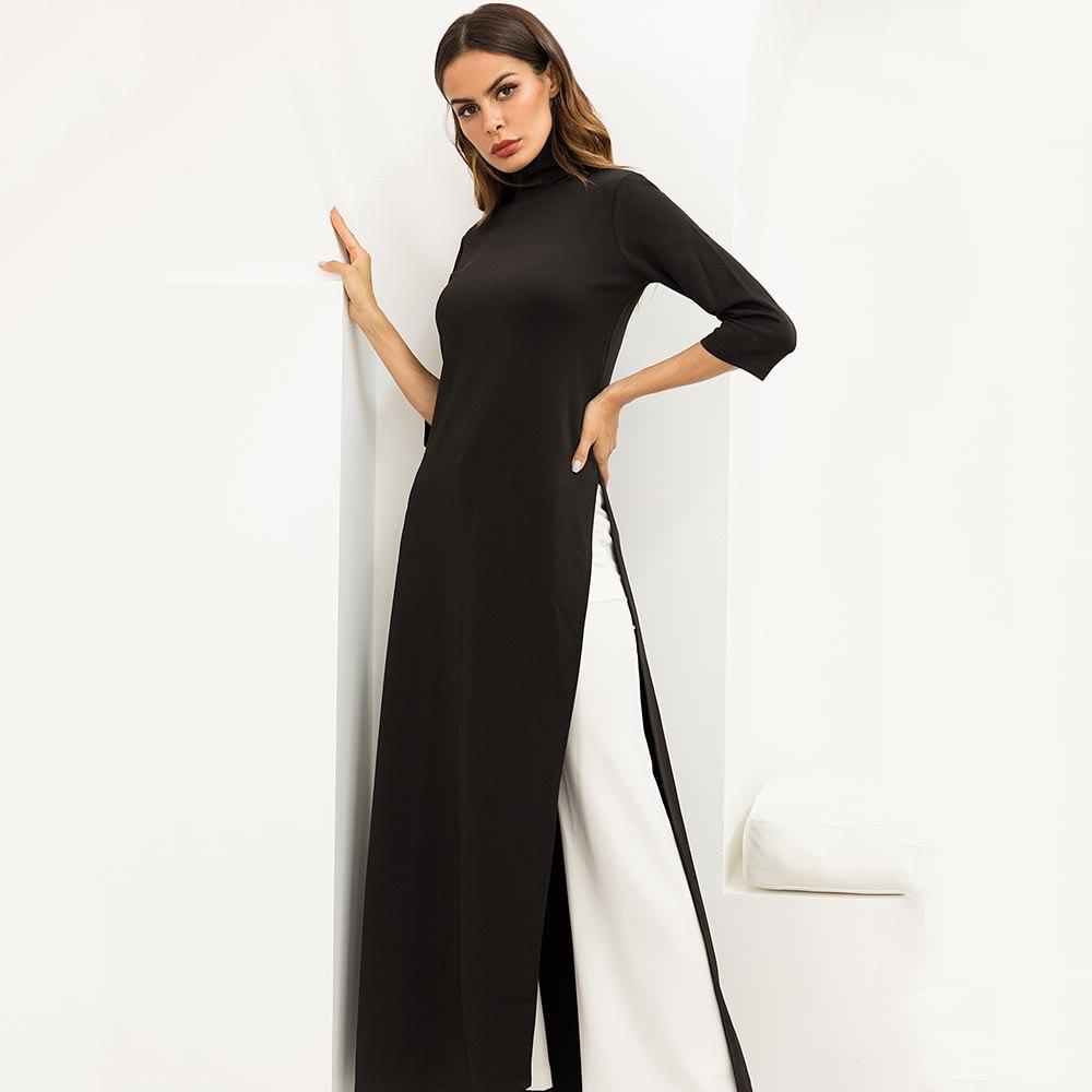 Women Fashion Plus Size Dress Black Autumn Asymmetrical Western ...