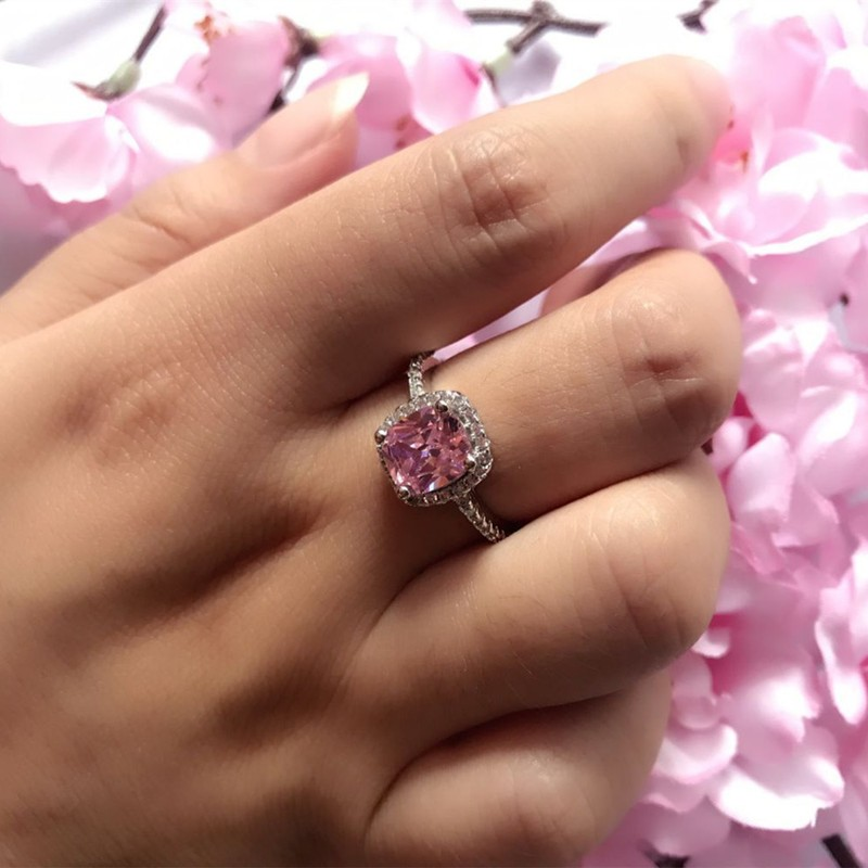 Real 100% 925 Sterling Silver Wedding Rings For Women Pink Princess-cut 5a CZ Engagement Ring Simulated Diamond Platinum Jewelry