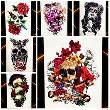 25 Style Flash Body Art Temporary Tattoo Waterproof Skull Tatoo Paste For Men Women Henna Decals Fake Flower Arm Tattoo Stickers