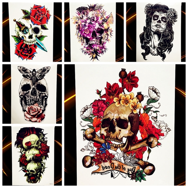 25 Style Flash Body Art Temporary Tattoo Waterproof Skull Tatoo Paste For Men Women Henna Decals Fake Flower Arm Tattoo Stickers