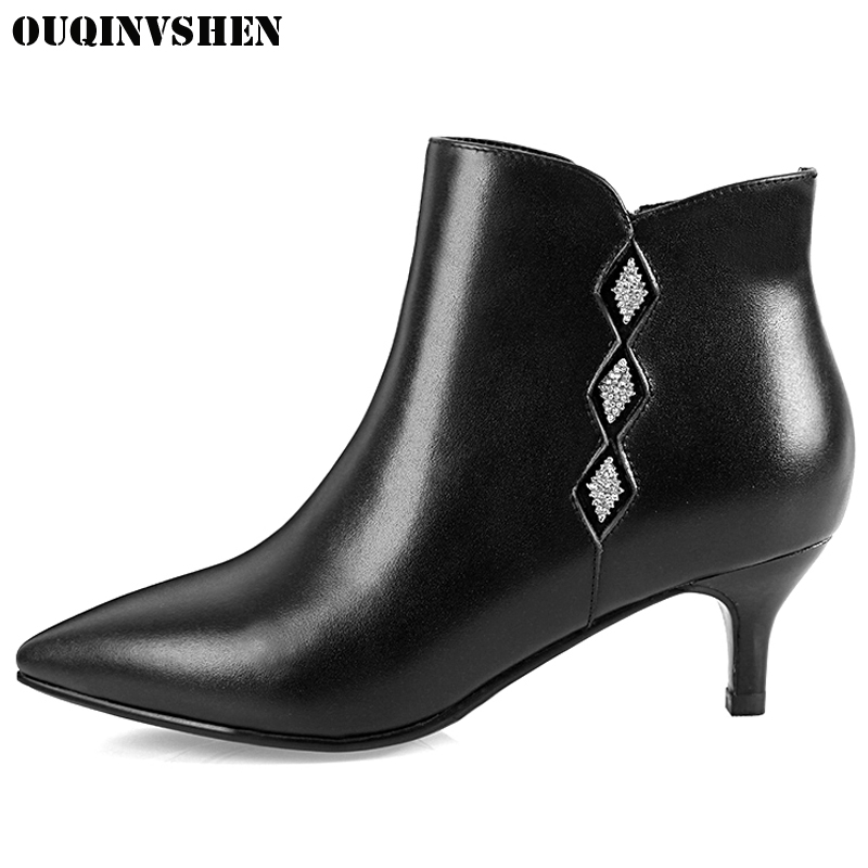 все цены на OUQINVSHEN Pointed Toe Thin Heels Women's Ankle Boots 2017 New Casual Fashion Winter Crystal High Heels Boots Zipper Women Boots