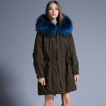 Europe station Female Long section Big hair collar Down jacket