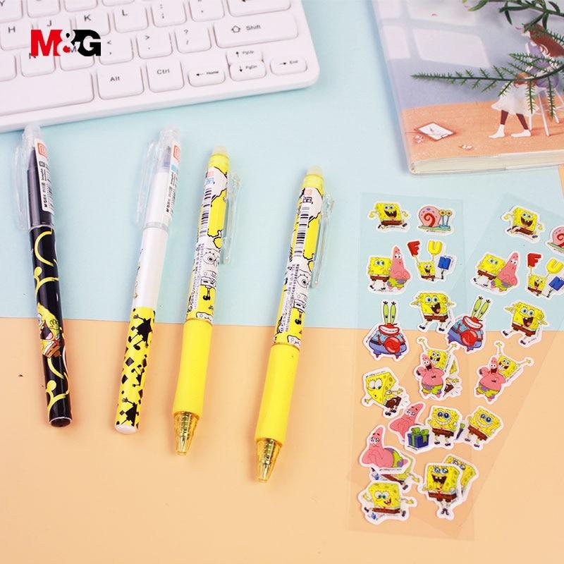M&G Black Ink 0.5mm Erasable Ballpoint Gel Pen Set With Sticker For School Kid Writing Office Supply Cute Spongebob Pattern Gift