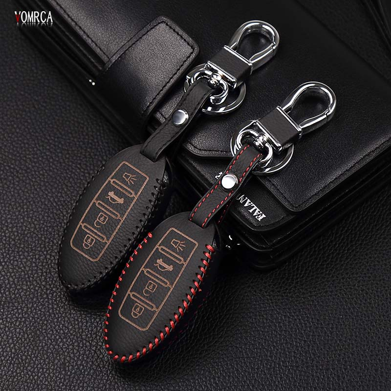 High quality top layer leather case car key cover for Nissan Altima Qashqai X-Trail T31 T32 Tiida Teana Juke 4 buttons remote