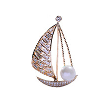 LISM  Creative Boat Corasage Brooch Pin Sliver Gold Color Mirco Cubic Zircon Suit Hat Accessories Jewelry For Women Wholesale