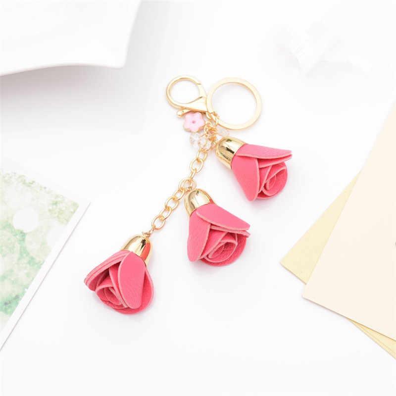 เกาหลีแฟชั่นพู่จี้ Rose Key Chain ภาพวาดน้ำมัน Camellia รถกระเป๋าถือจี้ Sleutelhanger แหวน