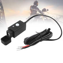 Black 10-24V DC 5V 3.1A USB ABS Round Terminal Waterproof Motorcycle Charger with Switch Button and Dust Cover for Motorbike