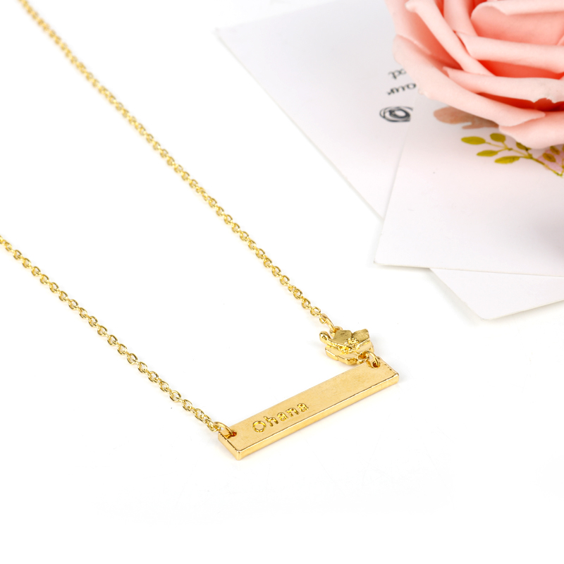 dongsheng Fashion Gold Lilo & Stitch Ohana Flower Plate Pendant Engraved Alloy Horizontal Bar Necklace Cartoon Movie Jewelry