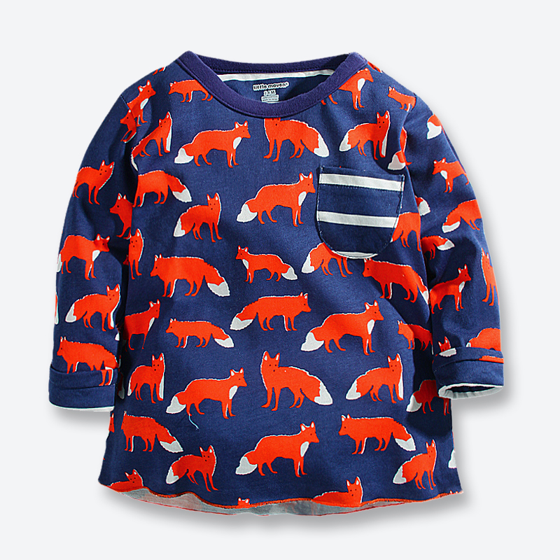 8fea94f856016 Autumn Baby Boy T Shirts Brand Cotton Boys Long Sleeve Tshirts Casual  Cartoon Fox Print Children Clothing Boys Tops Tees 1-6 Yrs