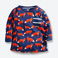 Autumn Baby Boy T Shirts Brand Cotton Boys Long Sleeve Tshirts Casual Cartoon Fox Print Children Clothing Boys Tops Tees 1-6 Yrs