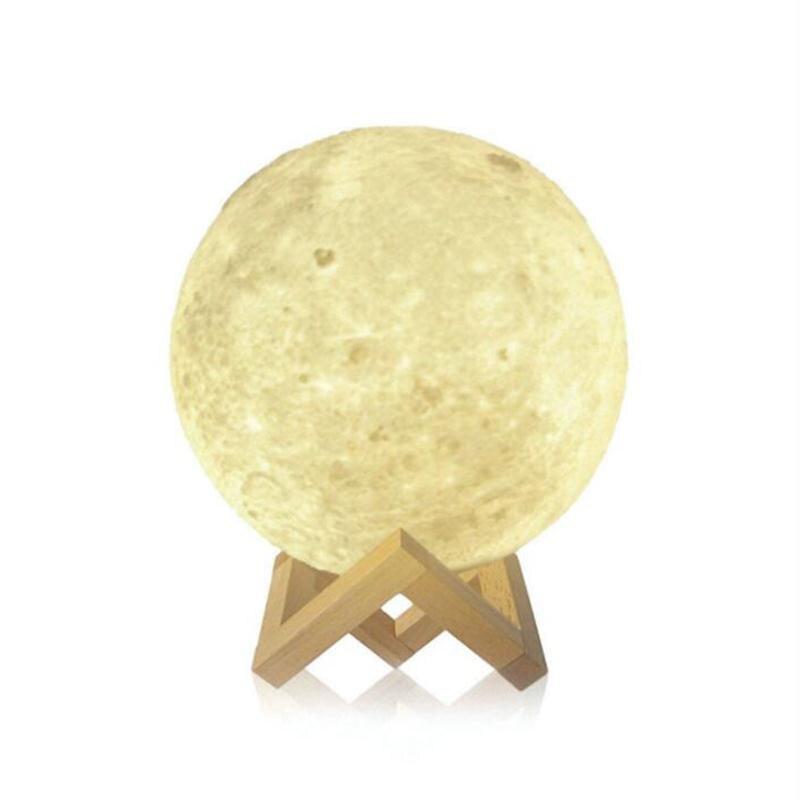 Mabor Three Color Luminaria NightLight 3D Moon Lamp LED Night Light Gift Touch Sensor Wood Holder