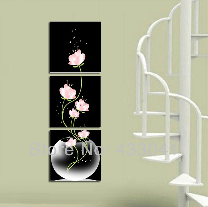 Hand Painted 3 Piece Canvas Art Sets Black Pink White Flowers In Vases Decoratives Oil Painting Modern Wall Pictures For Calligraphy From