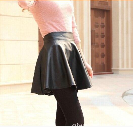 Primavera otoño invierno nuevas faldas del busto falda de cuero alta cintura  BIG SWING Tutu falda Bud plisada faldas Falda skater s174 5fcb71286b49