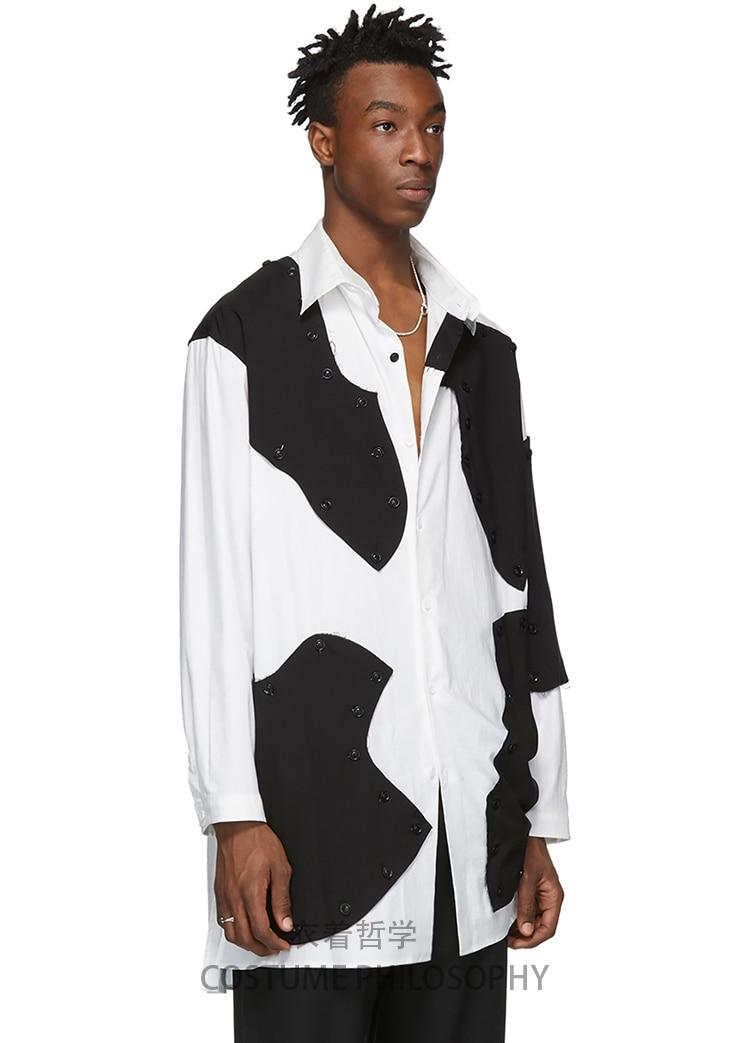 Mannen Shirt Stiksels Blokkerig Losse Asymmetrische Onregelmatigheid Volledige Mouw Vierkante Kraag Patchwork Melkkoe Patroon Ontwerp Shirts - 5