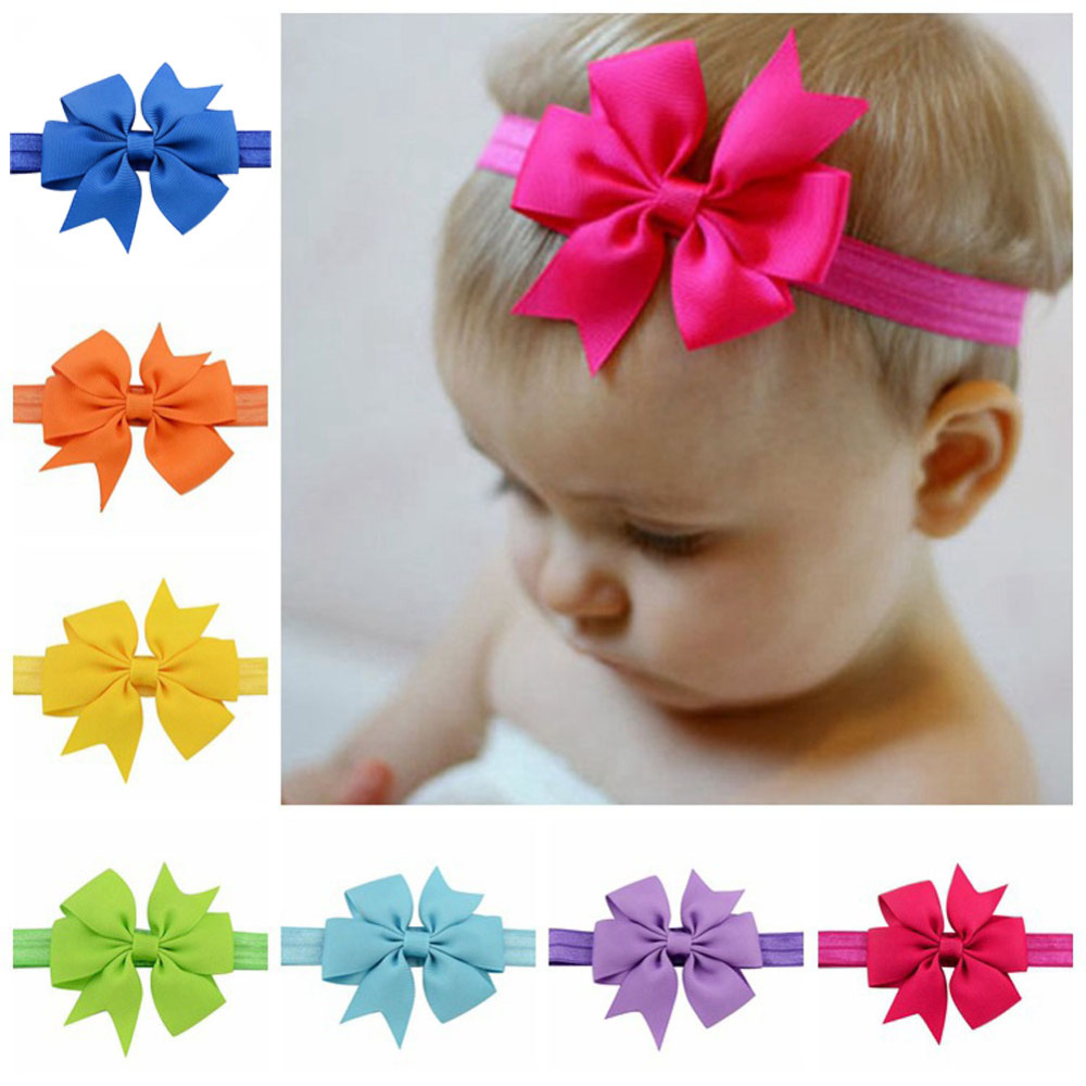 Wholesale  Newborn   Girls Elastic Headband Bowknot New Born  Girls Hair Weave Band Kids Hair Accessories hot sale hair accessories headband styling tools acessorios hair band hair ring wholesale hair rope