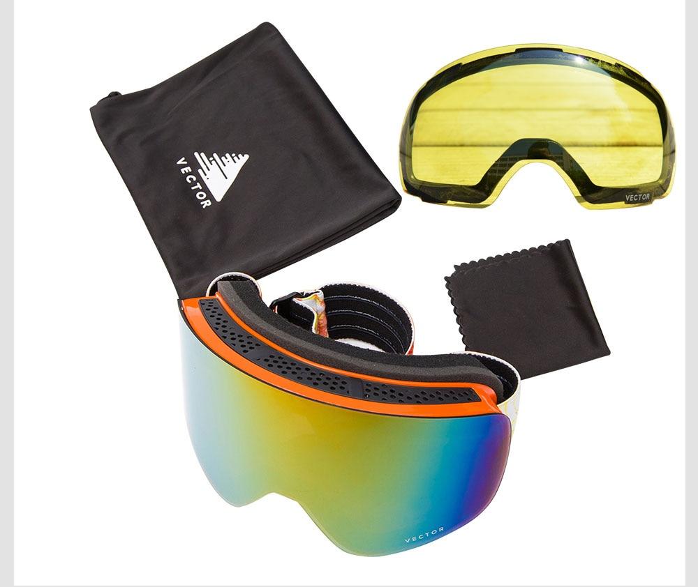 VECTOR marque lunettes de Ski Double lentille UV400 Anti-buée femmes hommes Snowboard Ski lunettes neige lunettes avec lentille supplémentaire - 3