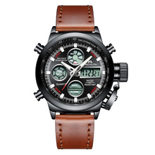 MEGALITH Watch Men Military Sports Waterproof Wristwatch LED Digital Multifunction Watch Male Clock Brown Genuine Leather Watch