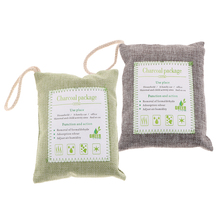 2 Pack 200g Bamboo Odor Eliminator Bags Natural Air Purifying Freshenes & Eliminators Gray Green