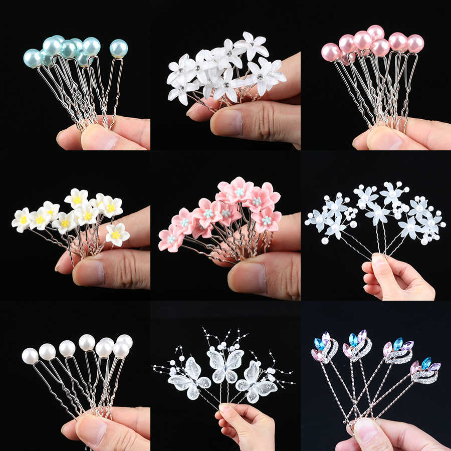Luxury Girl 10PCS Wedding Bridal Pearl Hair Pins Flower Crystal Hair Clips Bridesmaid Hair Jewelry Accessories hairpin Wholesale