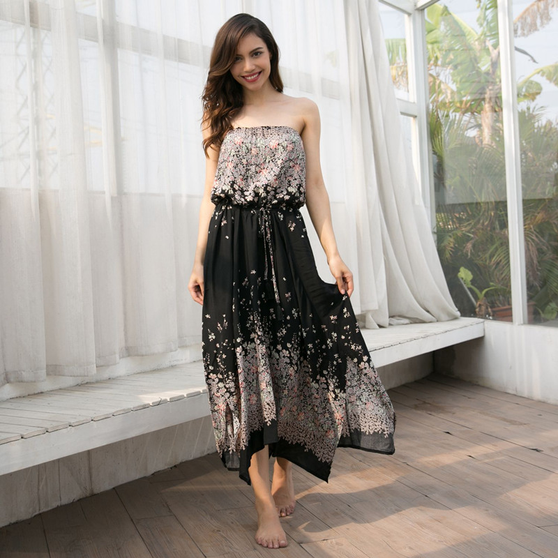 women plus size dresses ladies wear long maxi beach boho dresss off shoulder strapless floral print tube dress robe femme 81573L