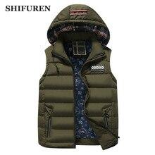 SHIFUREN Winter Causal Men Vest Thicken Warm Hooded Waistcoat Male Sleeveless Jacket Outerwear Hat Detachable Plus Size M-XXXL