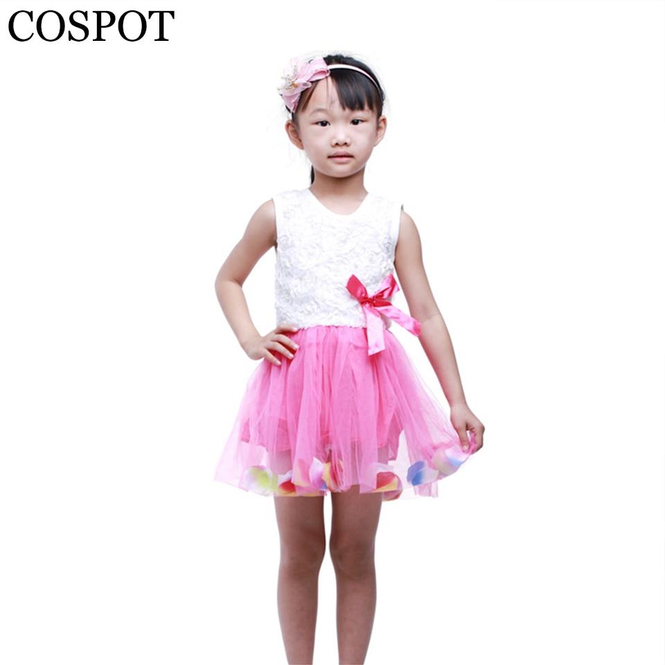 50326ff1c0 COSPOT 2018 Nowy Szczytu Sprzedaż Dziewczynek Sukienka Letnia Księżniczka  Tutu Sukienki Kwiatowe Dziewczyny Suknie Bez Rękawów Casual Lace Dress 9F