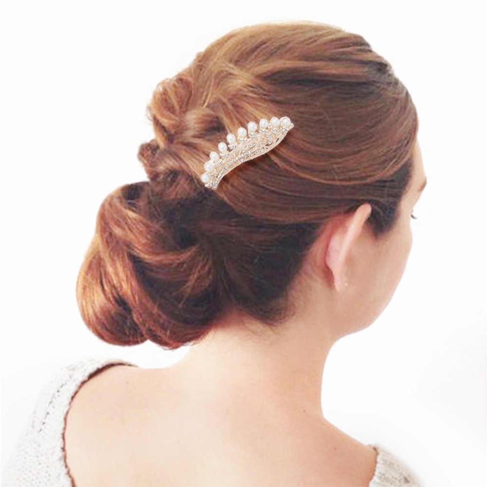 Dalaful Flower Simulasi Pearl Barrette Rambut Klip Kristal Jepit Rambut Pengantin Aksesoris Rambut Tiara Pernikahan Perhiasan Untuk Wanita F144