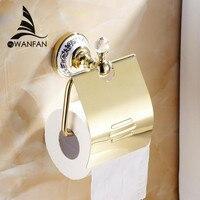 Precio Soportes de papel de moda, soporte de papel plateado y cristal, accesorios de baño, producto montado en la pared, soporte de papel higiénico de latón 6310