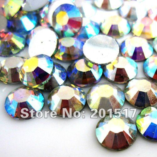 Glitter Resina Strass Flatback Não Hotfix Cristal AB Cor 2mm-8mm Broca Vara 3D Decorações Da Arte Do Prego DIY Contas de Design