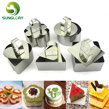 5PCS Round Heart Square Flower Triangular Cheese Cake Mold Baking Stainless Steel Mousse Ring Egg Tiramisu Mold Cookie Cutter e3cm 8 in 1 cake cutter ring mold silver
