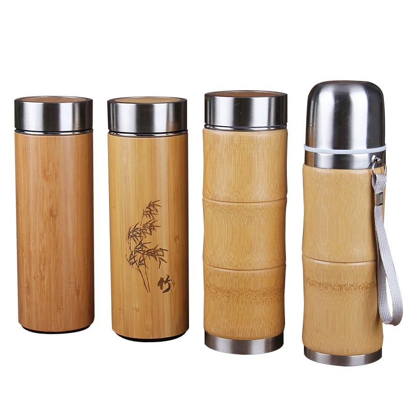 400 ملليلتر الخيزران المقاوم للصدأ الترمس زجاجات ل فراغ قوارير السفر أكواب القهوة الشاي الحرارية thermocup الإبداعية جديد