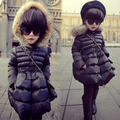 Free shipping winter Children's clothes hooded cotton-padded clothes girls upset long warm hooded winter jacket girl outerwear