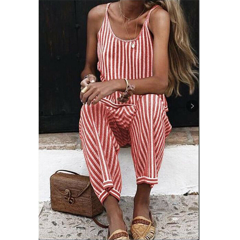 Fashion Women Spaghetti Strap Striped Jumpsuit Summer Ladies Playsuit Bodycon Party Jumpsuits Romper Wide Leg Pant Long Trousers