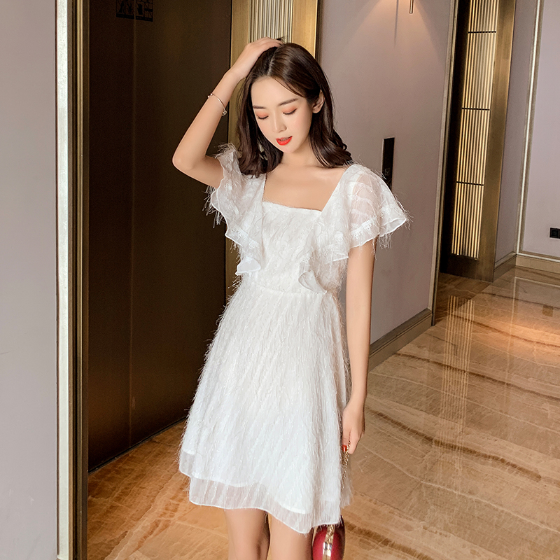 EAD French Style Square Collar Ladies Vintage Summer Dresses White Tassel Backless Women Elegant Dress New a Line Mini Sexy Robe