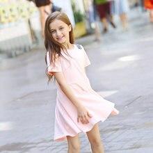 2016 sommer Mädchen Baumwolle Kleidung Baumwolle Kleid Brief Design Rosa Kleid Fashionbale kleidung 5 6 7 8 9 10 11 12 13 14 T Jahre alt