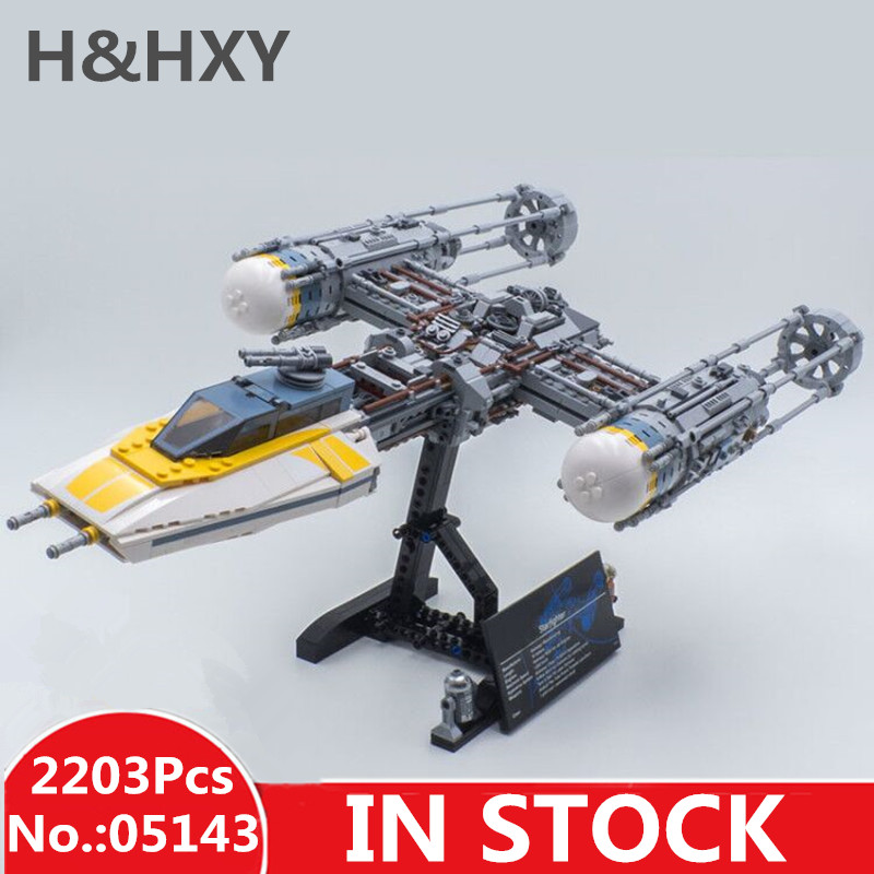 IN STOCK H&HXY 05143 2203Pcs star Y-wing fighter wars Set LEPIN Building Blocks Bricks Christmas Toys Kid Gift Compatible 75181 new 1685pcs lepin 05036 1685pcs star series tie building fighter educational blocks bricks toys compatible with 75095 wars