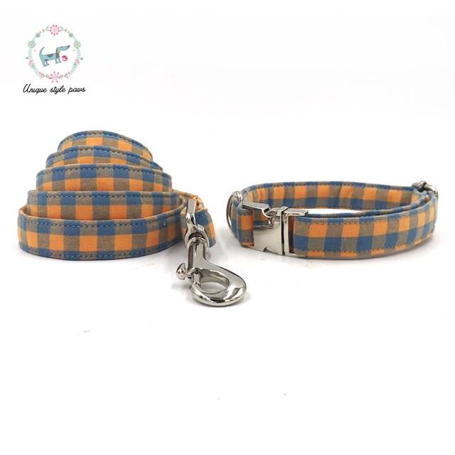 Orange Plaid Collar and Leash set with Bow Tie 1