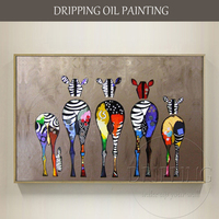 Unframed Artist Hand painted High Quality Modern Funny Animals Horses Oil Painting on Canvas Funny Donkey Horse Oil Painting