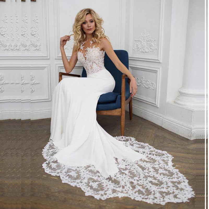 LORIE Boho O-pescoço Apliques de Renda Do vestido de Casamento Da Sereia Do Vestido de Casamento com um Pequeno Trem Branco Marfim Praia Vestido de Noiva Frete Grátis
