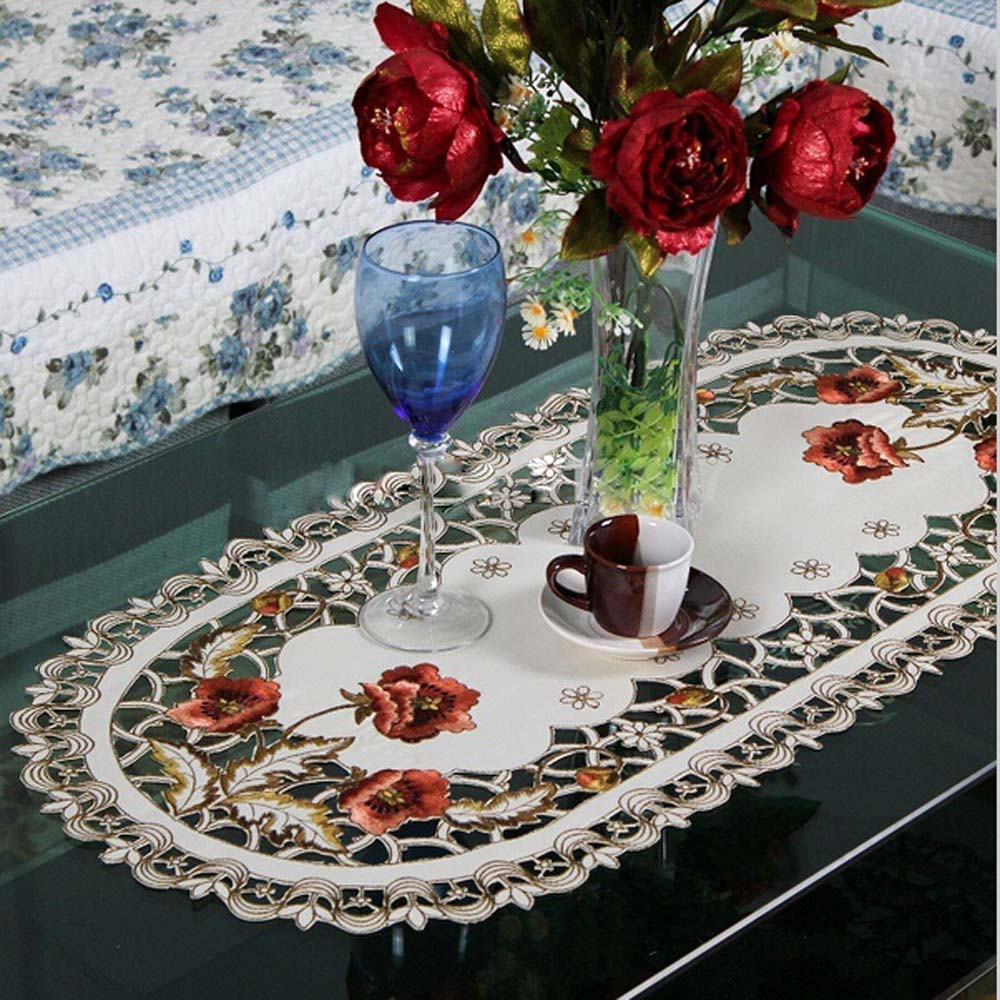Hot Sale Elegant Polyester Embroidery Table Runner Embroidered Floral Cutwork Table Cloth Linen Covers Runners