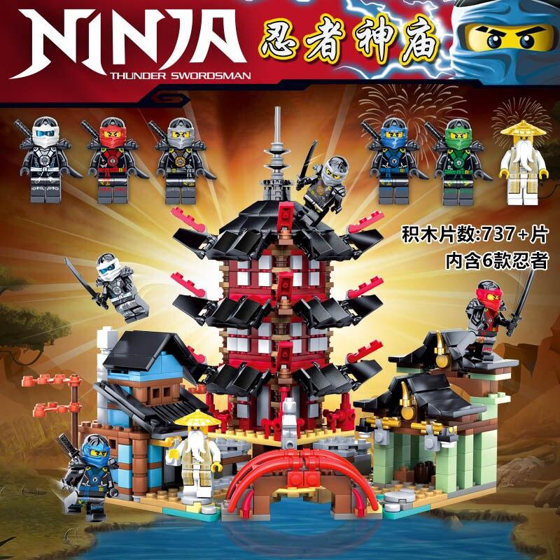 Ninja Temple of Airjitzu Ninjagoes Smaller Version Bozhi 737 PCS Blocks Set Toys For Kids Building Bricks dhl in stock lepin 06022 2150pcs ninja temple of airjitzu jay kai cole building blocks bricks set diy toys fit for 70751