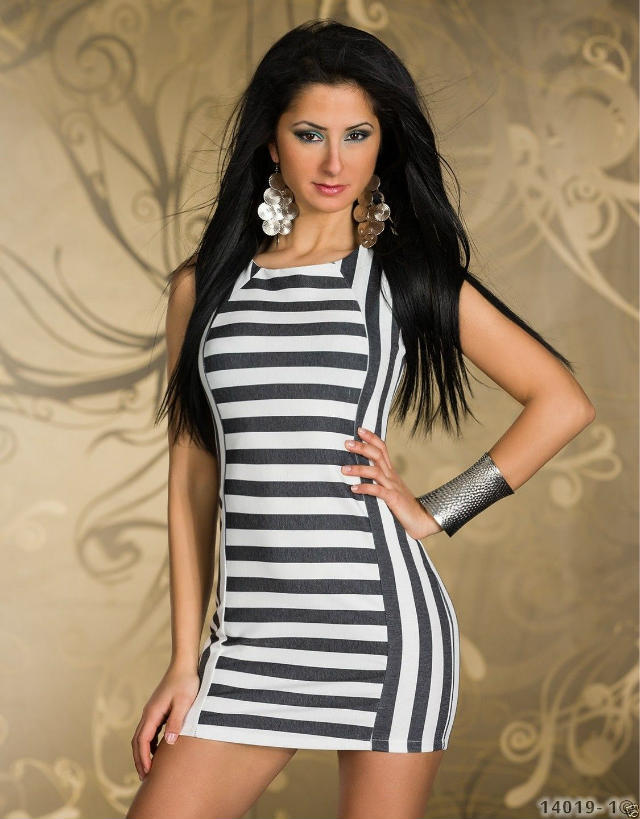 Free Shipping Black And White Dress Elegant Bodycon Dress Autumn Sexy Summer Casual Dress Stripe Tank Dress