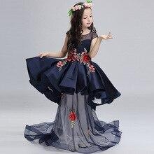 Crianças Destacável Passarela Anfitrião Mostra Crianças Vestir a Roupa Da Princesa Meninas da Flor do Casamento de Malha Azul