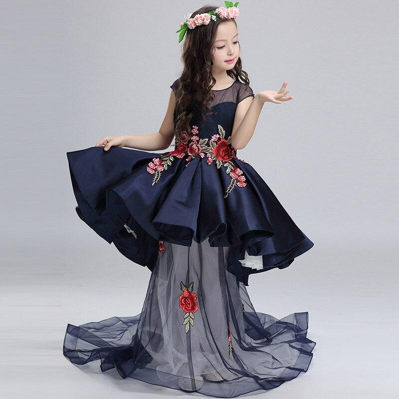 Children Detachable Princess Girls Flower Wedding Catwalk Shows Host Kids Dress Clothing Blue Mesh